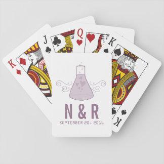 Purple Sweet Chemistry Wedding Playing Cards
