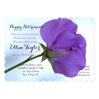 Purple Sweet Pea Retirement Party Invitation
