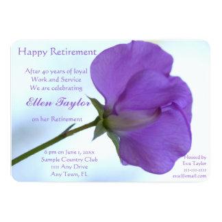 Purple Sweet Pea Retirement Party Invitation