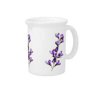 Purple Sweet Peas Flowers Customizable Pitcher