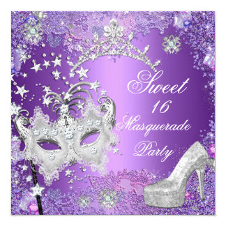 Purple Sweet  Sixteen 16 Masquerade Party Tiara Card