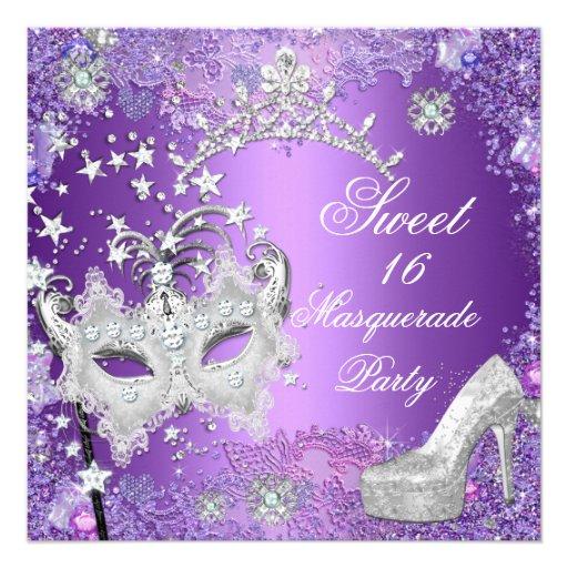Purple Sweet  Sixteen 16 Masquerade Party Tiara Personalized Invite