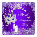 Purple Sweet Sixteen 16 Masquerade Party Tiara Custom Invites