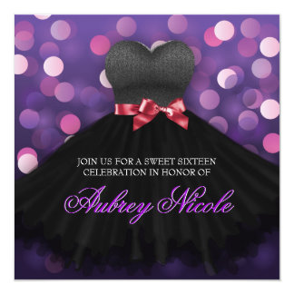 Purple Sweet Sixteen Black Dress Birthday Invite