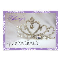 purple Sweet Sixteen or quinceañera party Card