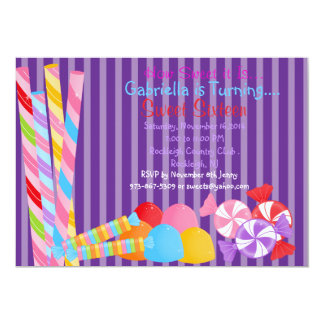 Purple Sweets Lots of Candy Sweet 16 Invitation