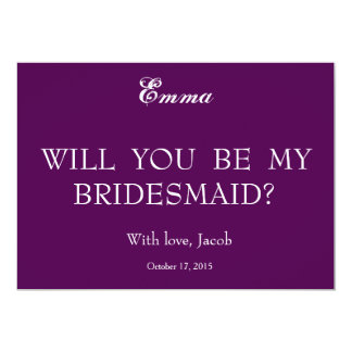 Purple Swiler Will You Be My Bridesmaid Invitation