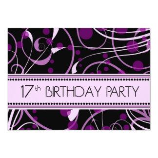 Purple Swirl 17th Birthday Party Invitation Cards