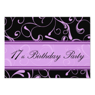 Purple 17th birthday party invitations announcements zazzle purple swirl 17th birthday party invitation cards stopboris Images