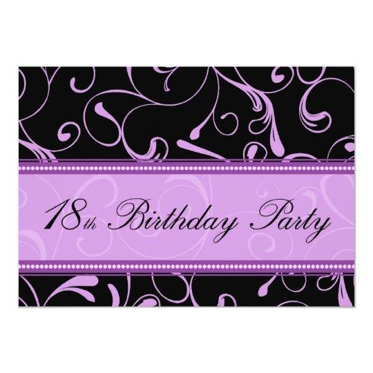 Purple Swirl 18th Birthday Party Invitation Cards – 18th Birthday Party Invitation