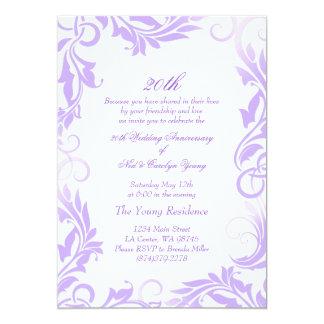 Purple Swirl 20th Wedding Anniversary Invitation