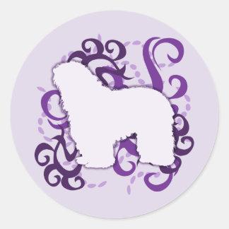 Purple Swirl Bergamasco Classic Round Sticker