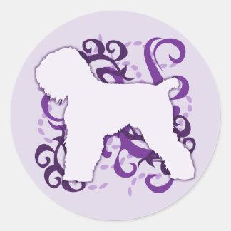 Purple Swirl Black Russian Terrier Classic Round Sticker