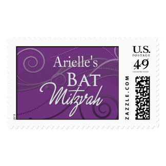 Purple Swirl Custom Bat Mitzvah postage stamp