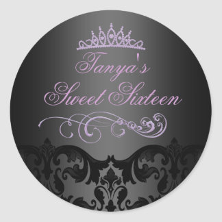 Purple Swirl Damask Sweet 16 Envelope Sticker/seal Classic Round Sticker