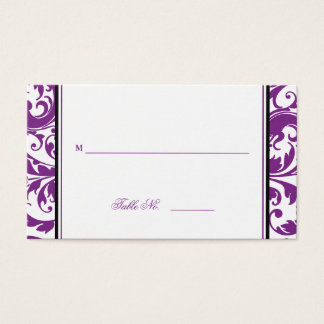 Purple Swirl Damask Table Seating Place Cards