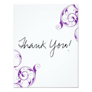 Purple Swirl Flat Thank You Cards