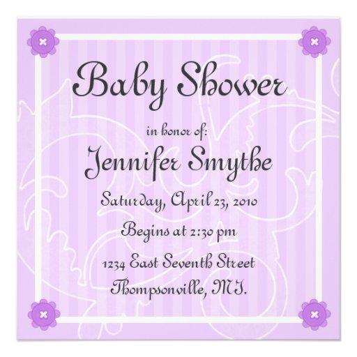 purple swirl flower baby shower invitation zazzle