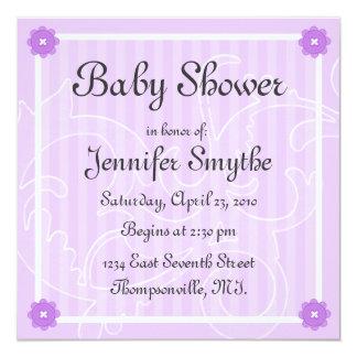 "Purple Swirl Flower Baby Shower Invitation 5.25"" Square Invitation Card"