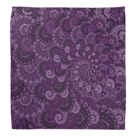 Purple Swirl Fractal Art Pattern Bandana