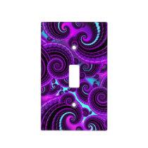 Purple Swirl Fractal Art Pattern Light Switch Cover