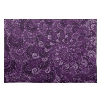 Purple Swirl Fractal Art Pattern Placemats