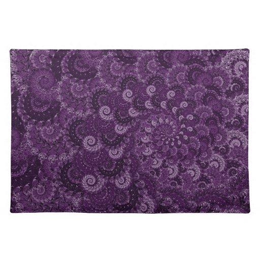 Purple Swirl Fractal Art Pattern Placemats Zazzle