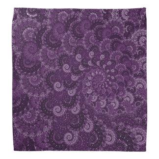 Purple Swirl Fractal Art Pattern Bandana