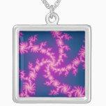 Purple Swirl - Fractal Art Silver Plated Necklace