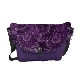 Purple Swirl Fractal Pattern Messenger Bag