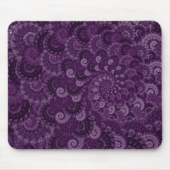 Purple Swirl Fractal Pattern Mouse Pad