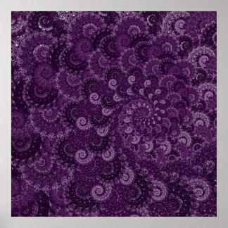 Purple Swirl Fractal Pattern Poster