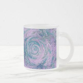 Purple swirl frosted glass coffee mug