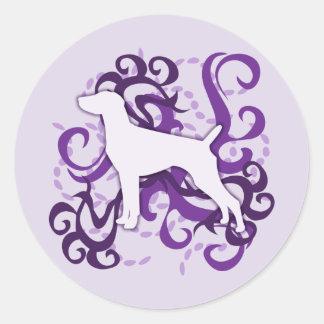 Purple Swirl German Shorthaired Pointer Classic Round Sticker