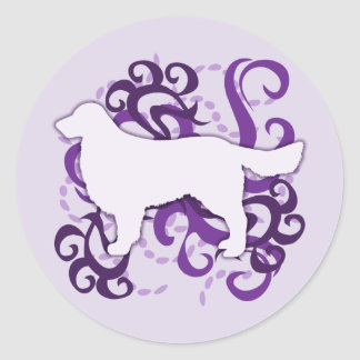 Purple Swirl Golden Retriever Classic Round Sticker