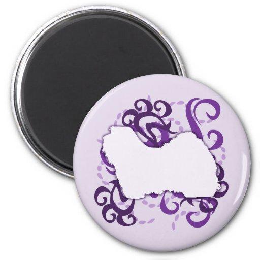 Purple Swirl Havanese 2 Inch Round Magnet