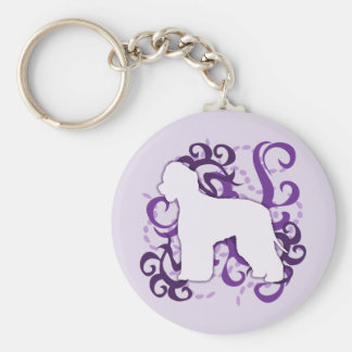 Purple Swirl Irish Water Spaniel Keychain