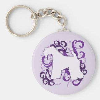 Purple Swirl Kerry Blue Terrier Basic Round Button Keychain