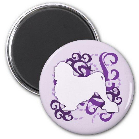 Purple Swirl Lowchen Magnet