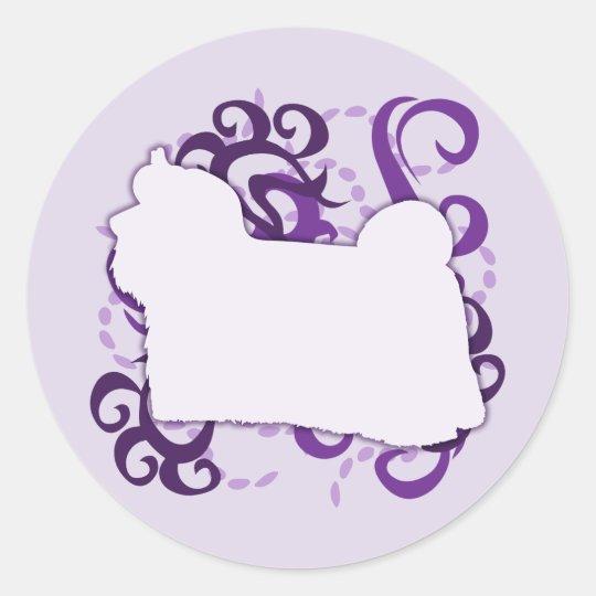 Purple Swirl Maltese Classic Round Sticker