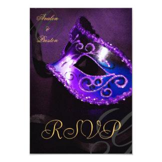 """Purple Swirl Masquerade Mask RSVP Invitation 3.5"""" X 5"""" Invitation Card"""