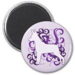 Purple Swirl Min Pin Fridge Magnet