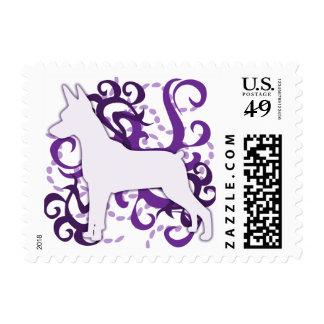 Purple Swirl Min Pin Postage Stamp