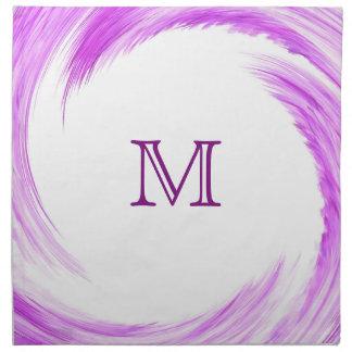 Purple Swirl Modern Abstract Monogram Cloth Napkin