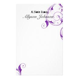 Purple Swirl Personalized Stationary Stationery
