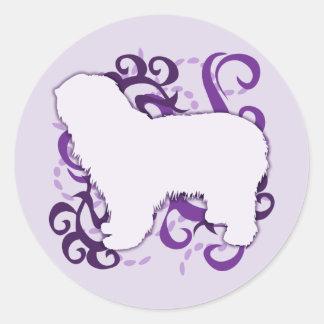 Purple Swirl Polish Lowland Sheepdog Classic Round Sticker