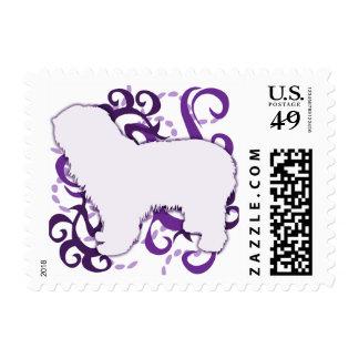 Purple Swirl Polish Lowland Sheepdog Postage Stamp