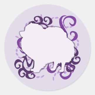 Purple Swirl Pomeranian Stickers