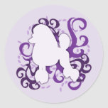 Purple Swirl Poodle Classic Round Sticker