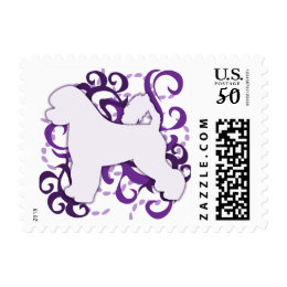 Purple Swirl Portuguese Water Dog Postage